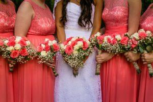bouquets, bride, bridesmaids, Crossnore, NC, summer wedding