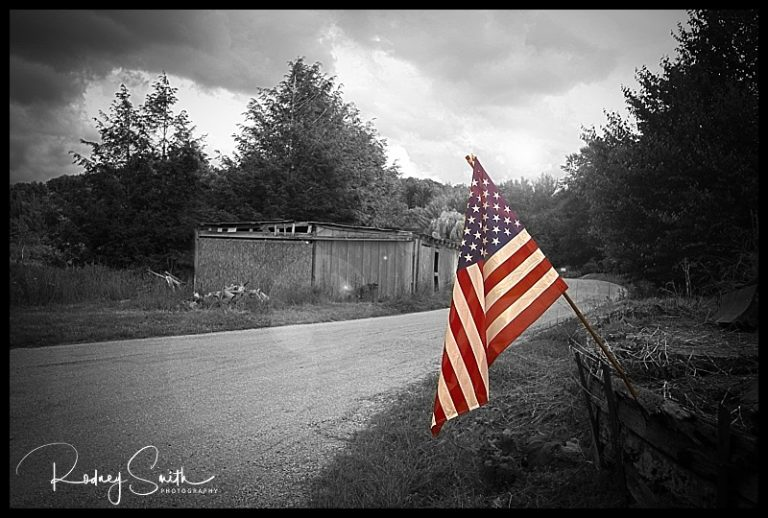 American flag, Pyatte, western NC, selective color