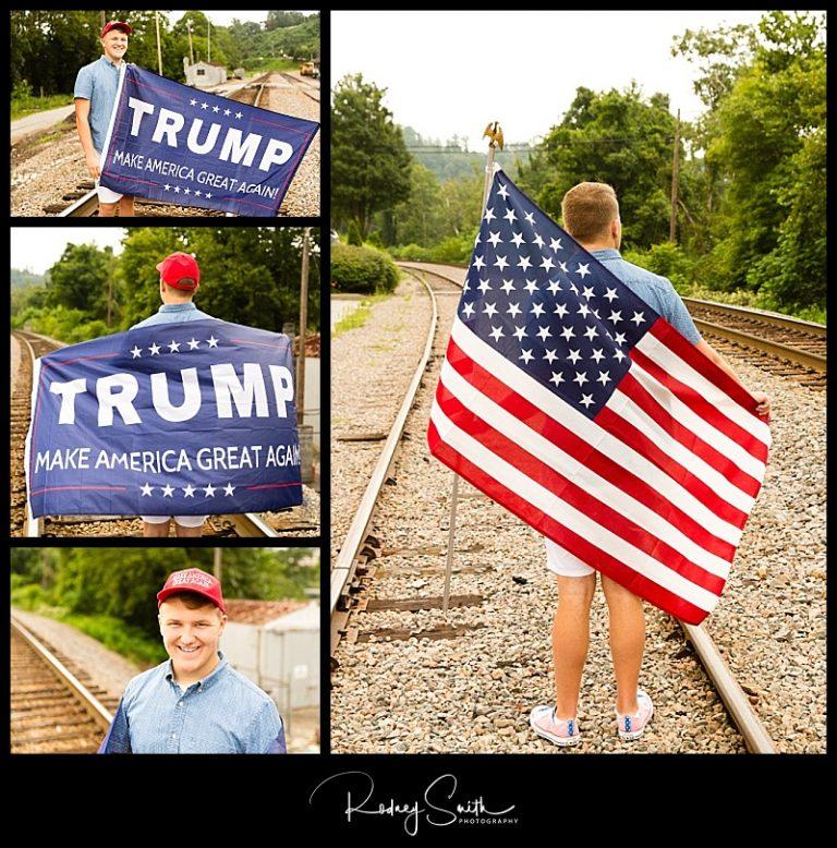 train tracks, summer, Spruce Pine, lower street, American flag, senior guy, Class of 2018