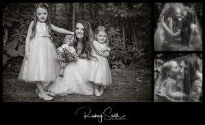 bride, flower girls, black and white, wedding day, Crosnore Presbyterian Church