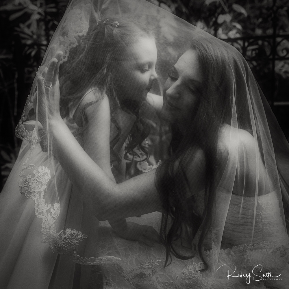 black and white bride and flower girl
