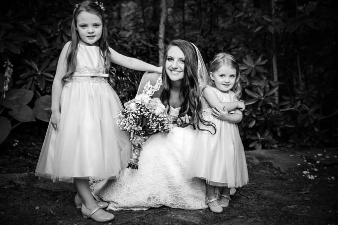 black and white wedding flower girls bride