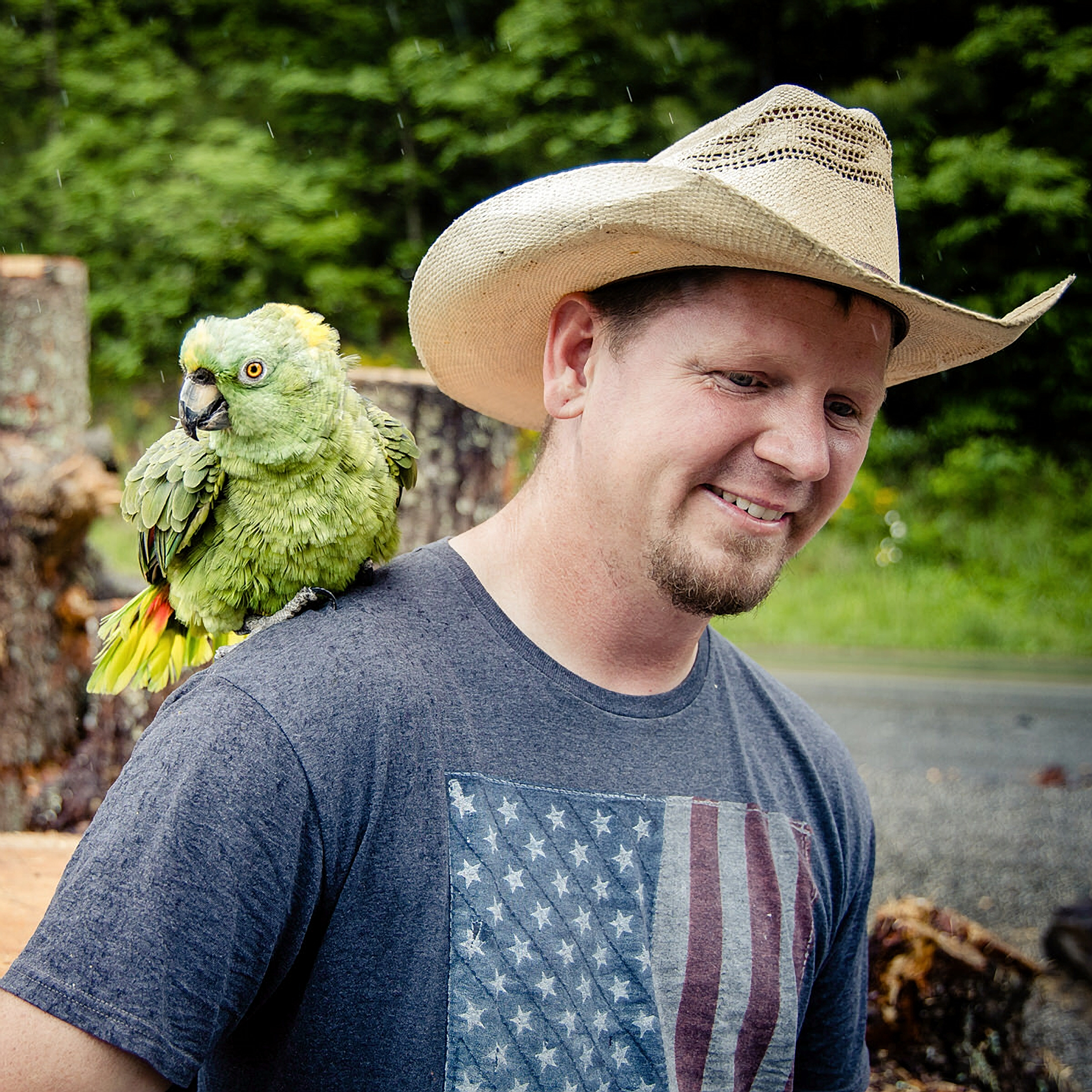 Jerry Stringham with parrot